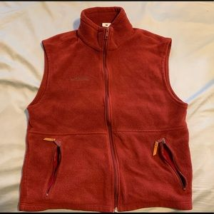 Red Columbia fleece vest. Size large